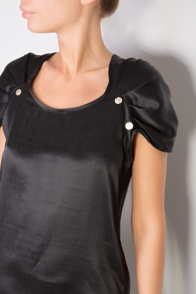 Embellished silk satin top Elena Perseil image 3
