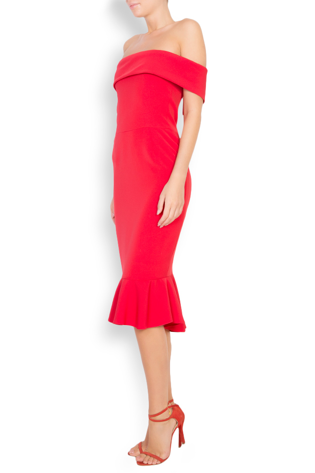 Ruffled off-the-shoulder crepe dress Couture de Marie image 1