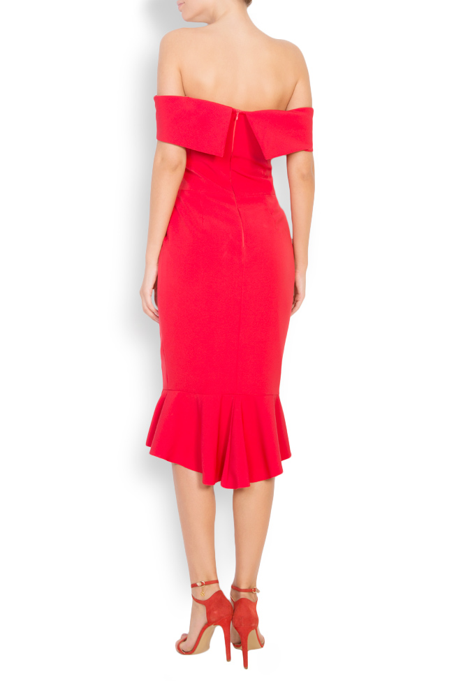 Ruffled off-the-shoulder crepe dress Couture de Marie image 2