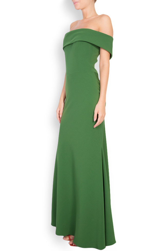 Ruffled off-the-shoulder crepe gown Couture de Marie image 1