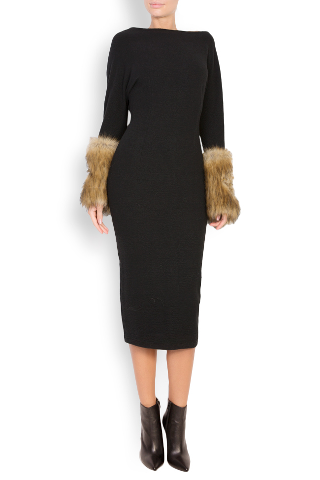 Faux fur-panel embroidered wool midi dress Maressia image 0