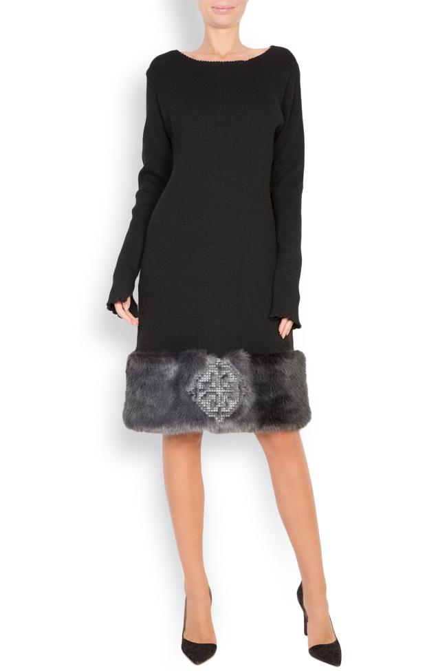 Rochie din tricot de bumbac cu insertii din blana ecologica brodata  Maressia imagine 0