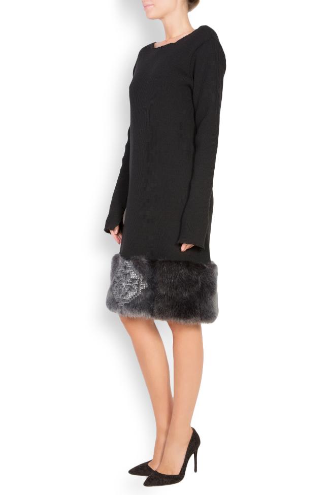 Rochie din tricot de bumbac cu insertii din blana ecologica brodata  Maressia imagine 1