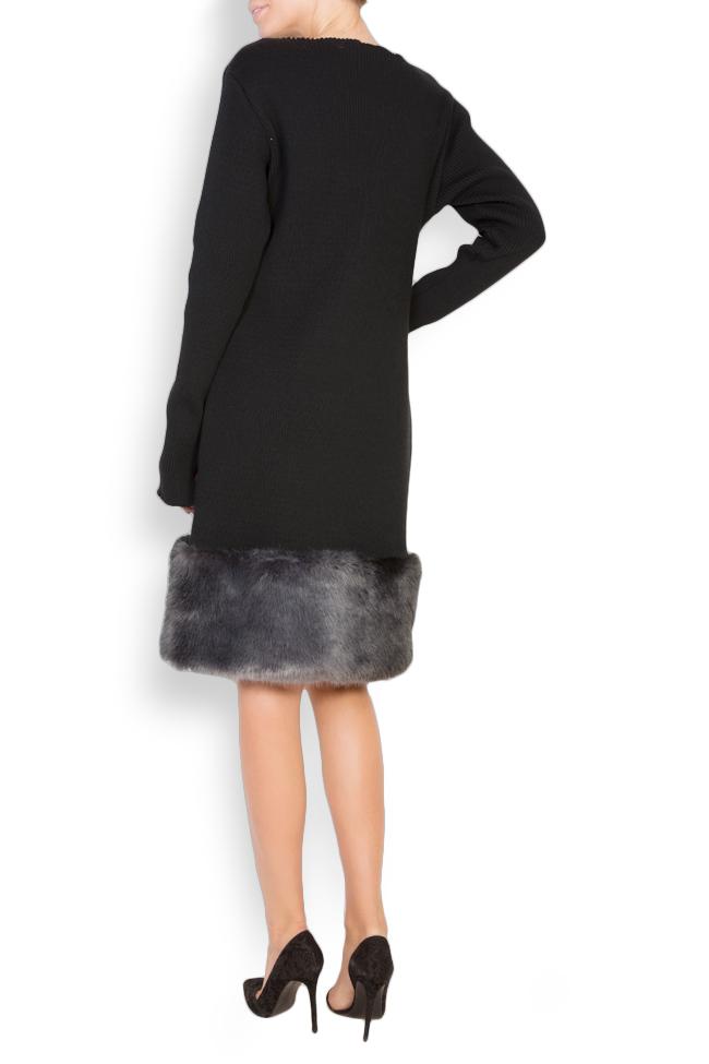 Faux fur-panel embroidered cotton midi dress Maressia image 2