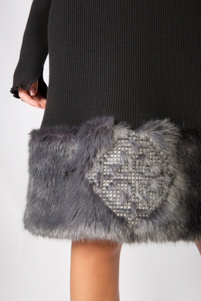 Faux fur-panel embroidered cotton midi dress Maressia image 3