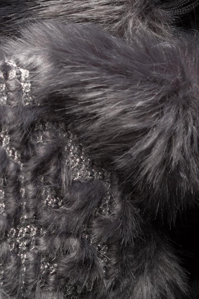 Faux fur-panel embroidered cotton midi dress Maressia image 4