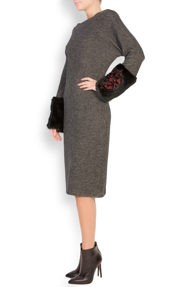 Faux fur-panel embroidered wool midi dress Maressia image 1