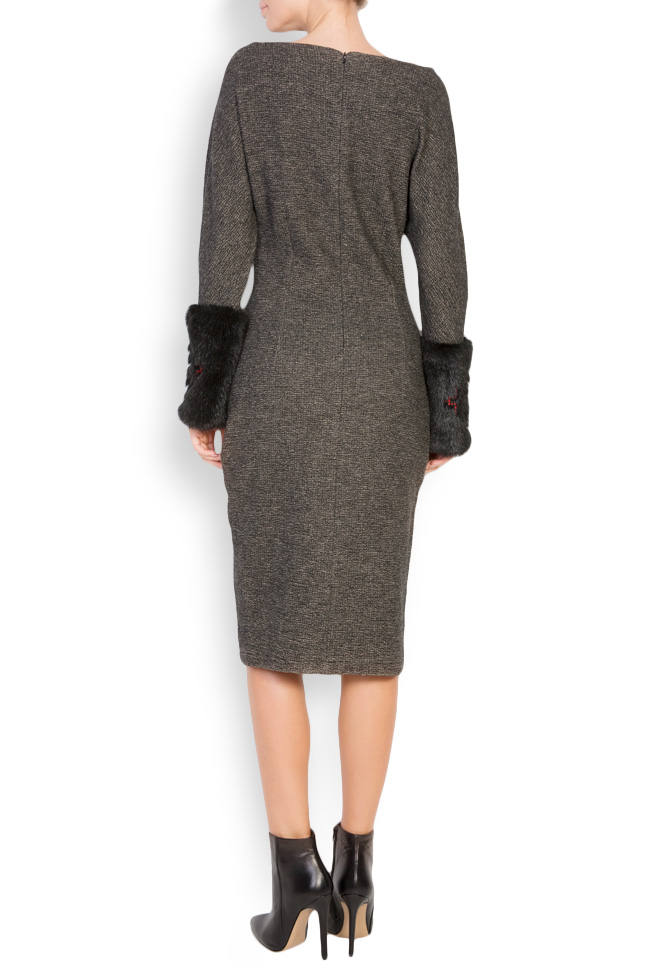 Faux fur-panel embroidered wool midi dress Maressia image 2