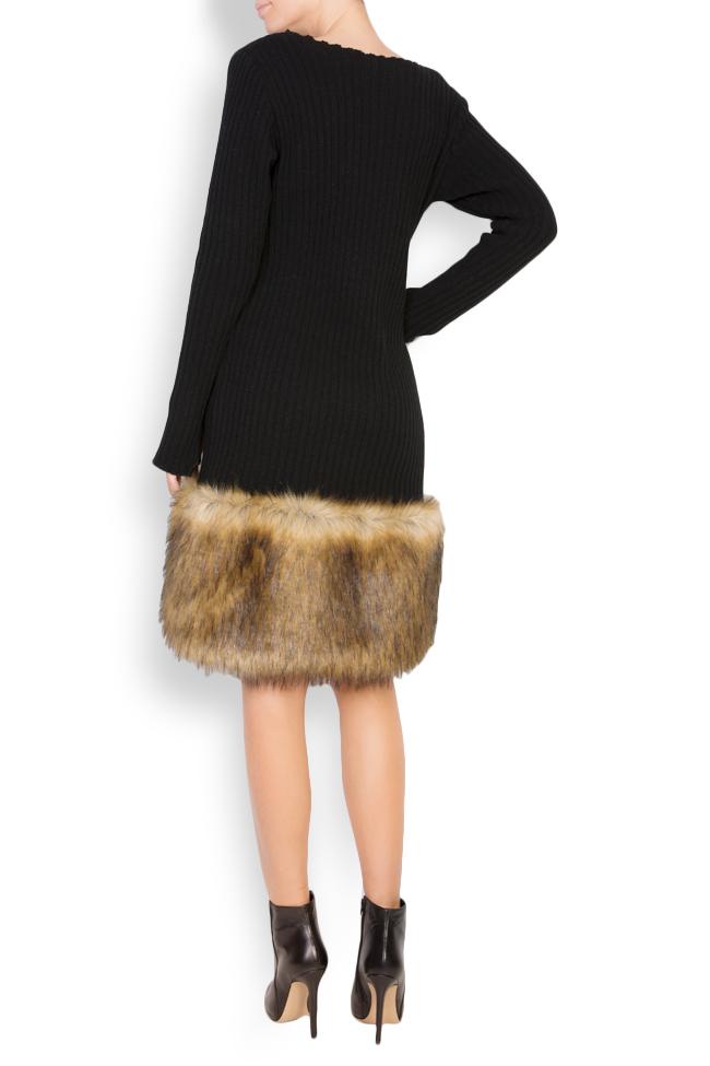 Rochie din tricot de bumbac cu insertii din blana ecologica brodata  Maressia imagine 2