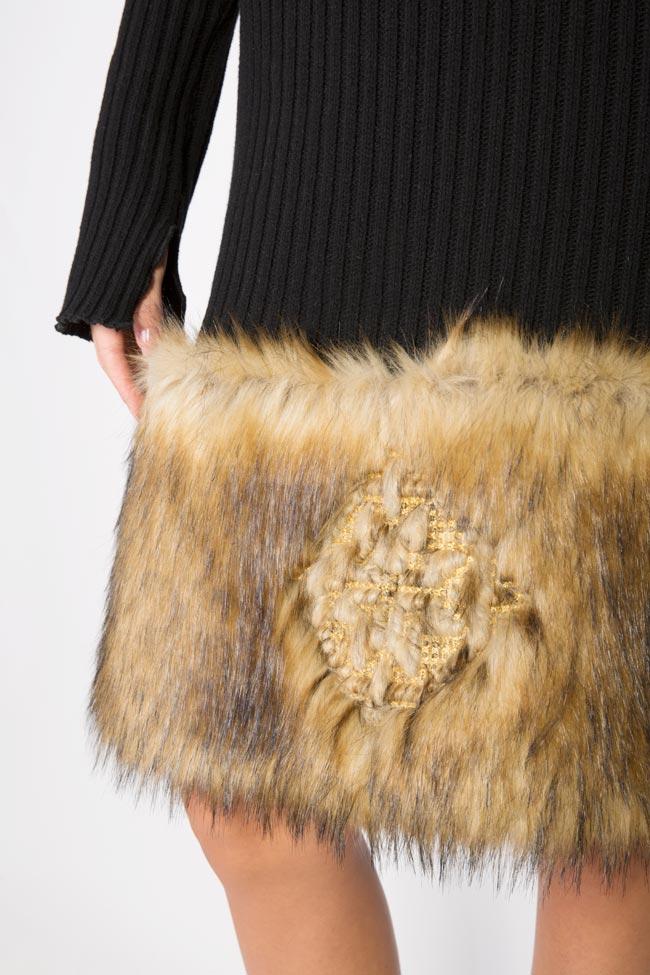 Rochie din tricot de bumbac cu insertii din blana ecologica brodata  Maressia imagine 3