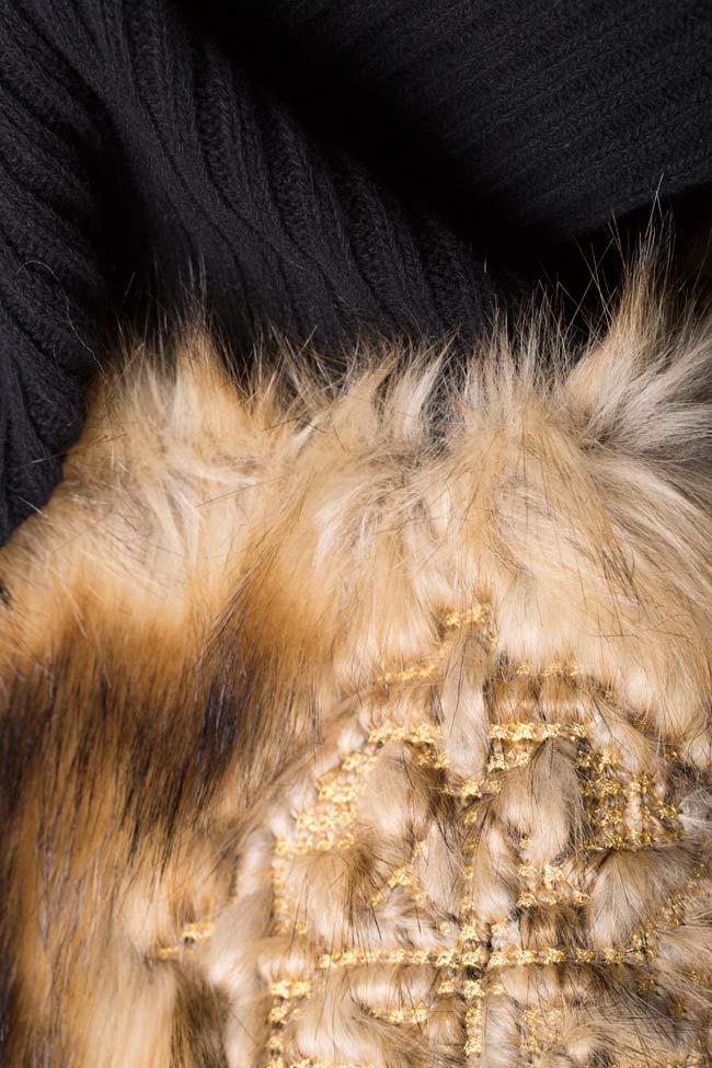 Rochie din tricot de bumbac cu insertii din blana ecologica brodata  Maressia imagine 4
