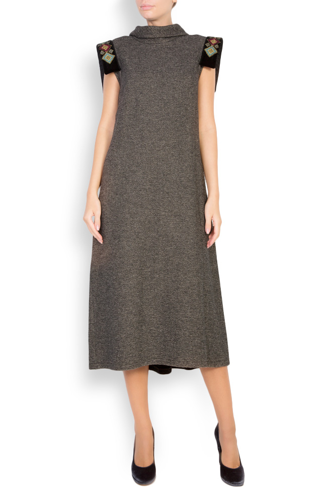 Silk-embroidered wool and velvet midi dress Maressia image 0