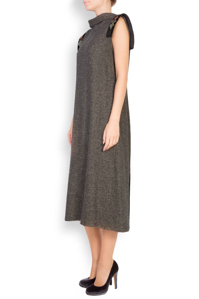 Silk-embroidered wool and velvet midi dress Maressia image 1