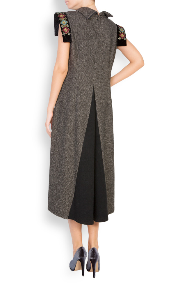 Silk-embroidered wool and velvet midi dress Maressia image 2