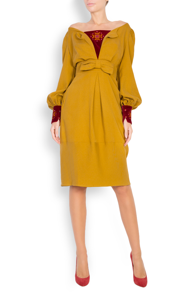 Embroidered velvet-paneled cotton midi dress Maressia image 0