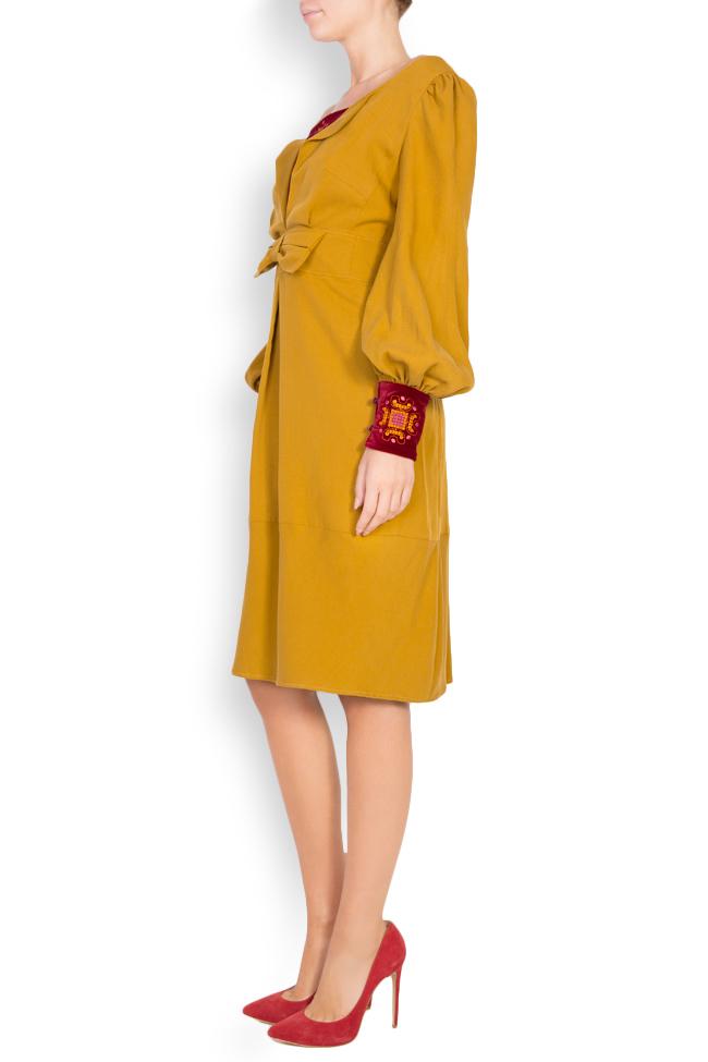 Embroidered velvet-paneled cotton midi dress Maressia image 1
