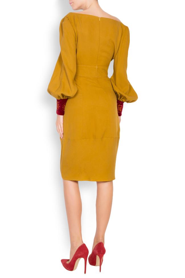 Embroidered velvet-paneled cotton midi dress Maressia image 2