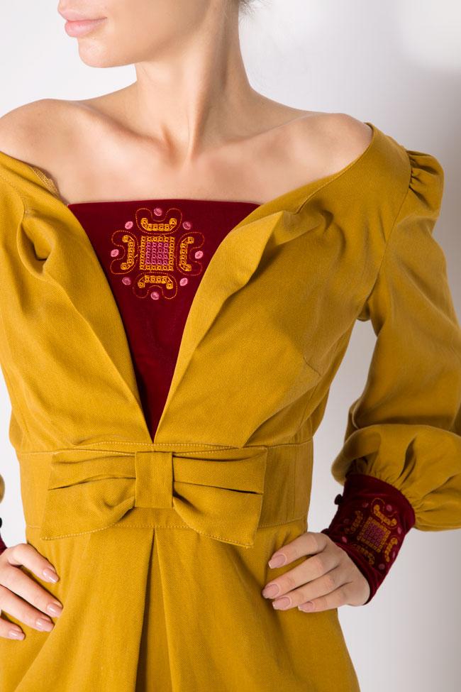 Embroidered velvet-paneled cotton midi dress Maressia image 3