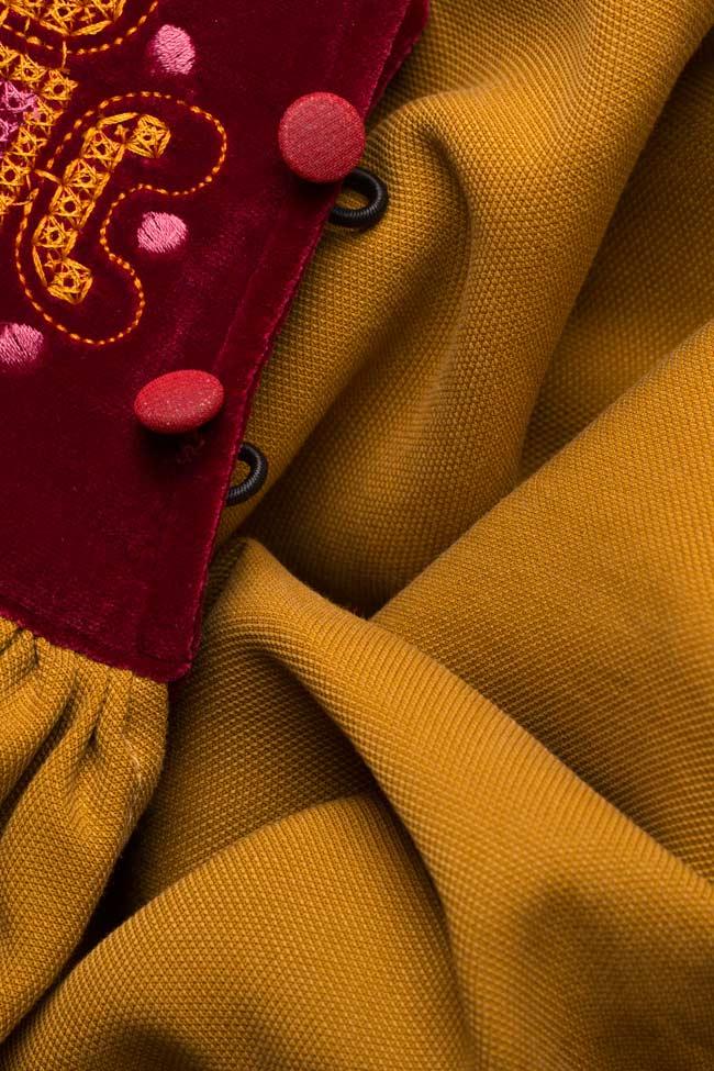 Robe brodée en coton avec insertions de velours Maressia image 4