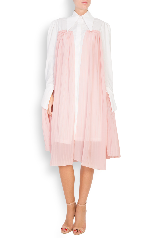 Pleated cotton-poplin shirt dress LOOMY image 0