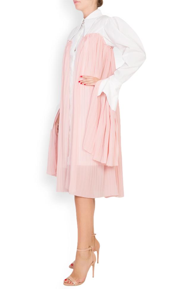 Pleated cotton-poplin shirt dress LOOMY image 1
