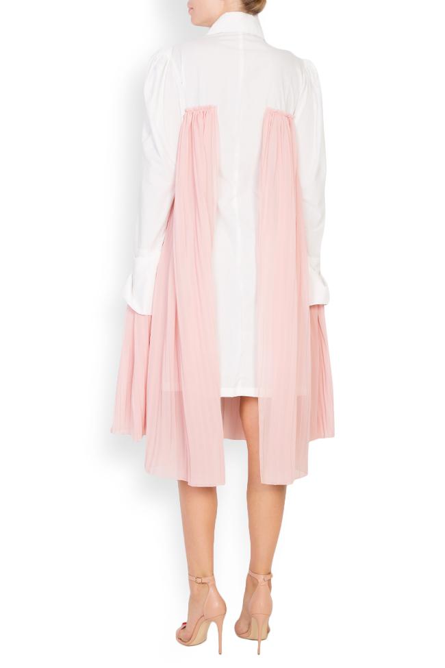 Pleated cotton-poplin shirt dress LOOMY image 2