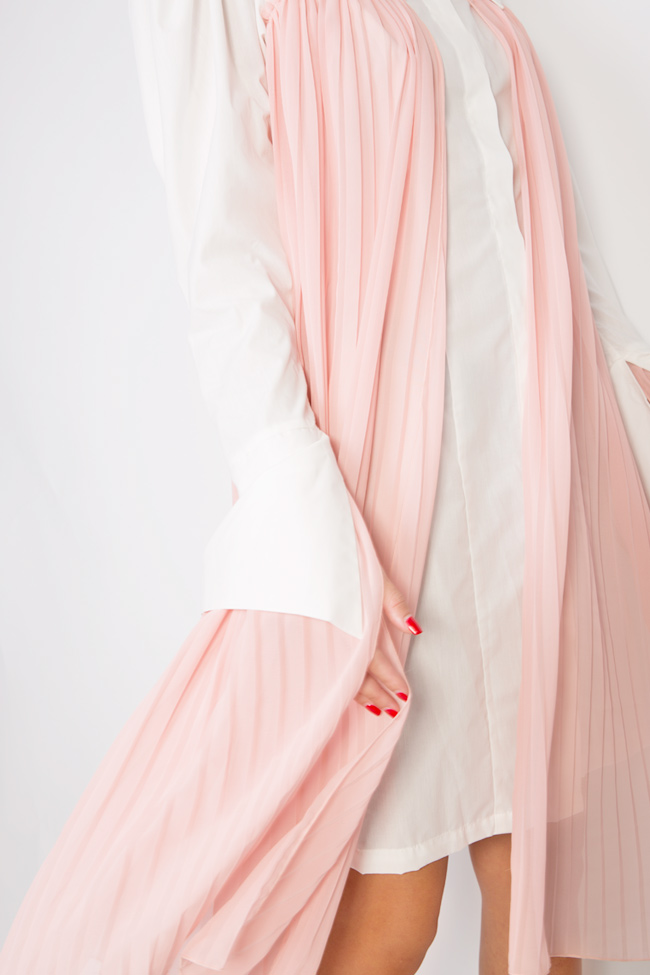 Pleated cotton-poplin shirt dress LOOMY image 3