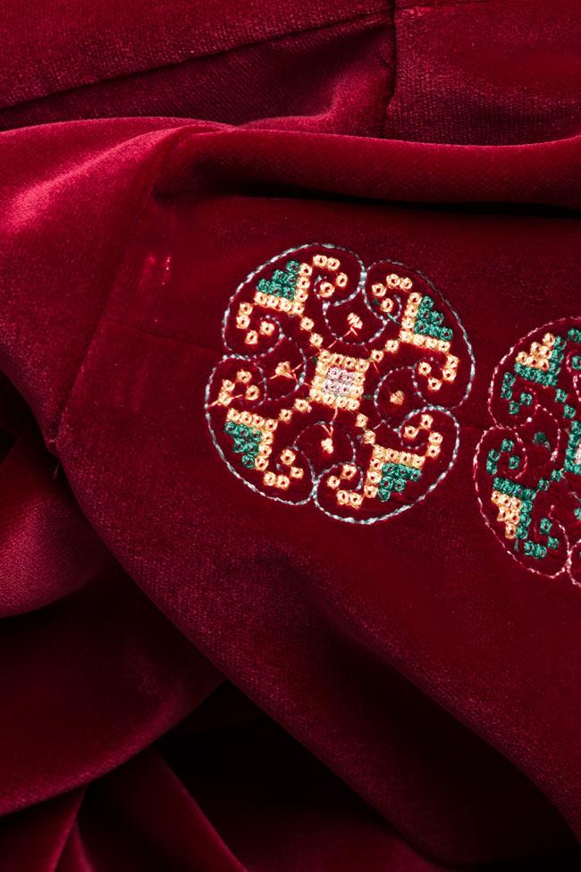 Embroidered cotton velvet mini dress Maressia image 4