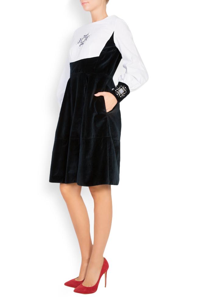 Robe brodée en velours et popeline de coton Maressia image 1