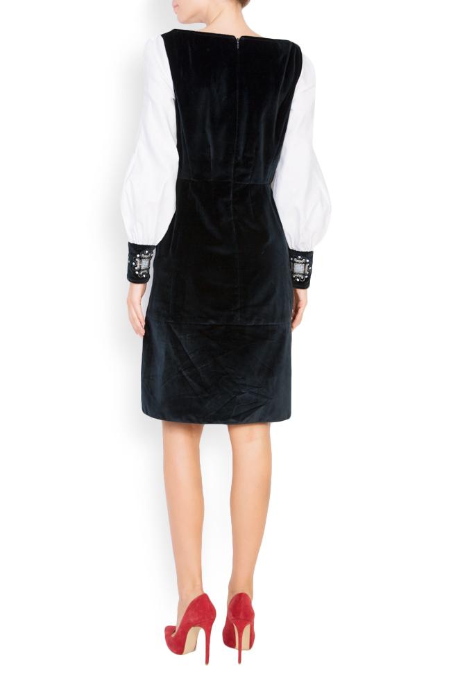 Robe brodée en velours et popeline de coton Maressia image 2