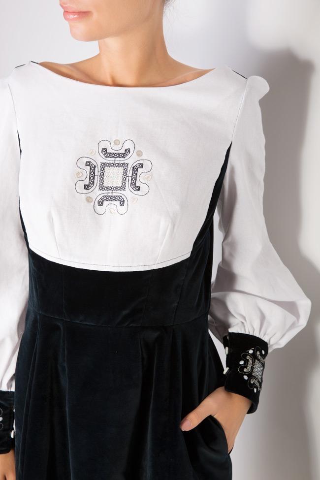 Robe brodée en velours et popeline de coton Maressia image 3