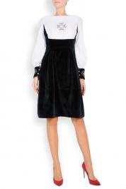 Maressia Embroidered cotton and velvet midi dress