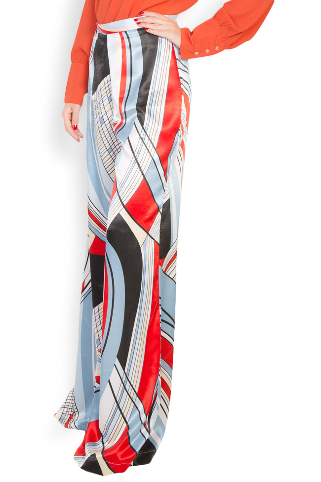 Printed satin wide leg pants LOOMY image 1