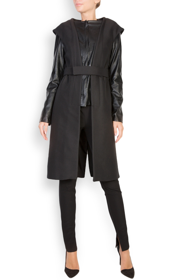Nova faux-leather-trimmed wool-blend coat Shakara image 0
