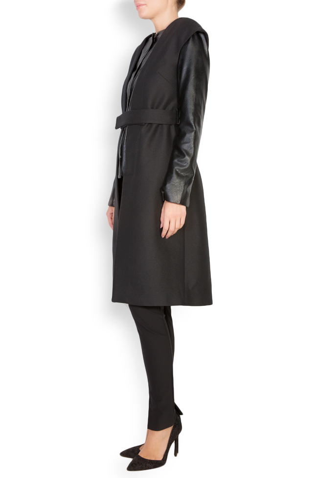 Nova faux-leather-trimmed wool-blend coat Shakara image 1
