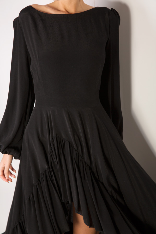 Asymmetric crepe midi dress Cloche image 3