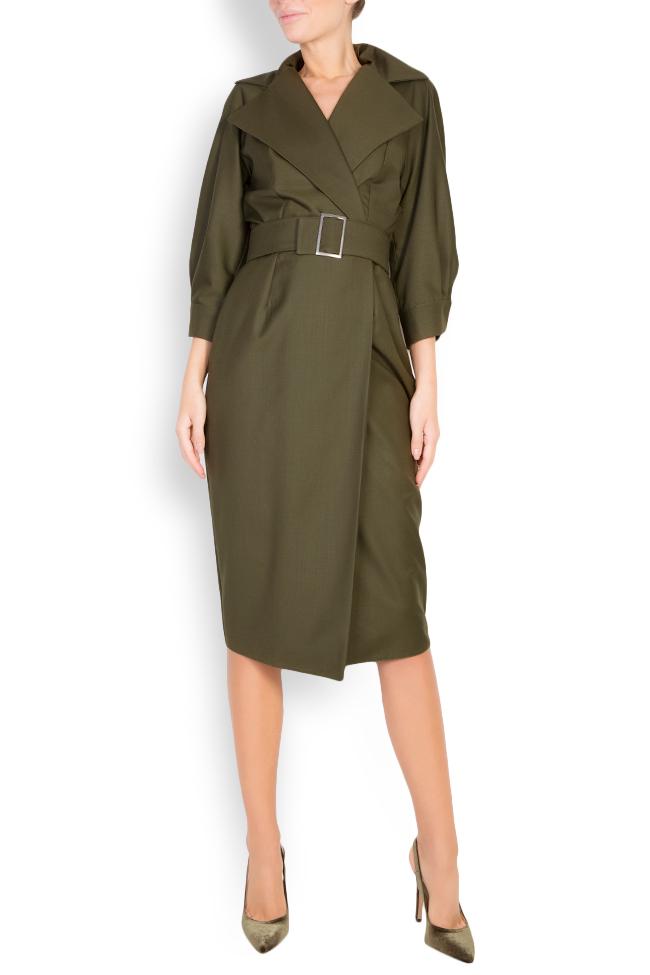 Belted wool-blend wrap dress Cloche image 0