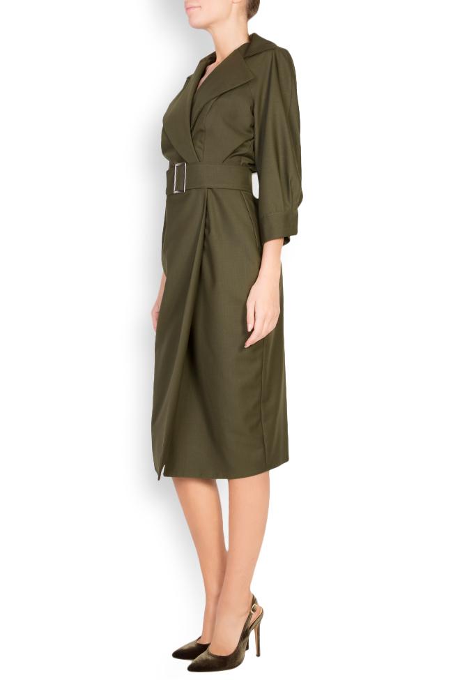 Belted wool-blend wrap dress Cloche image 1