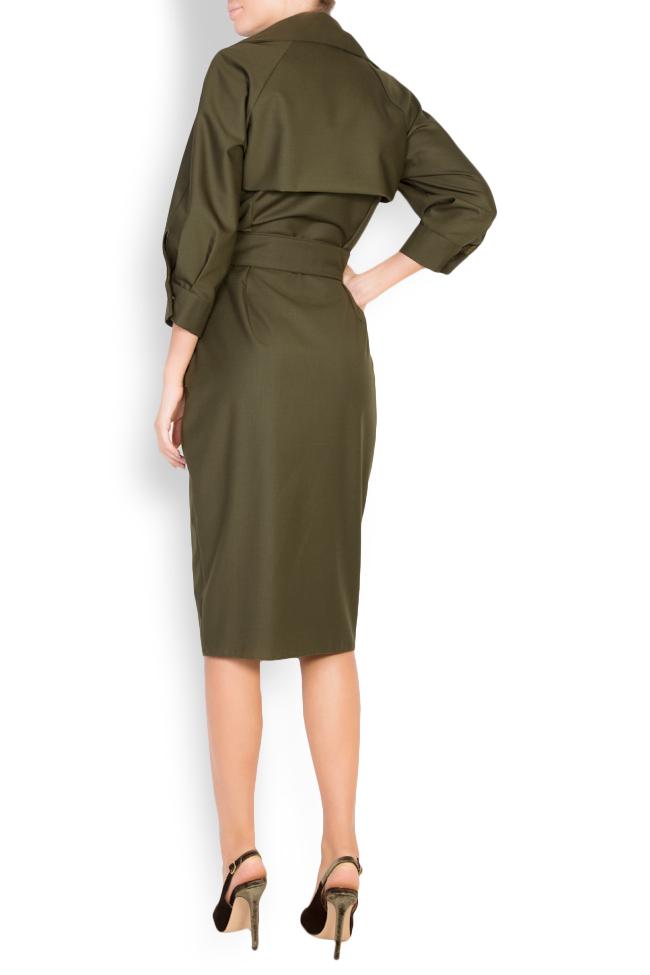 Belted wool-blend wrap dress Cloche image 2