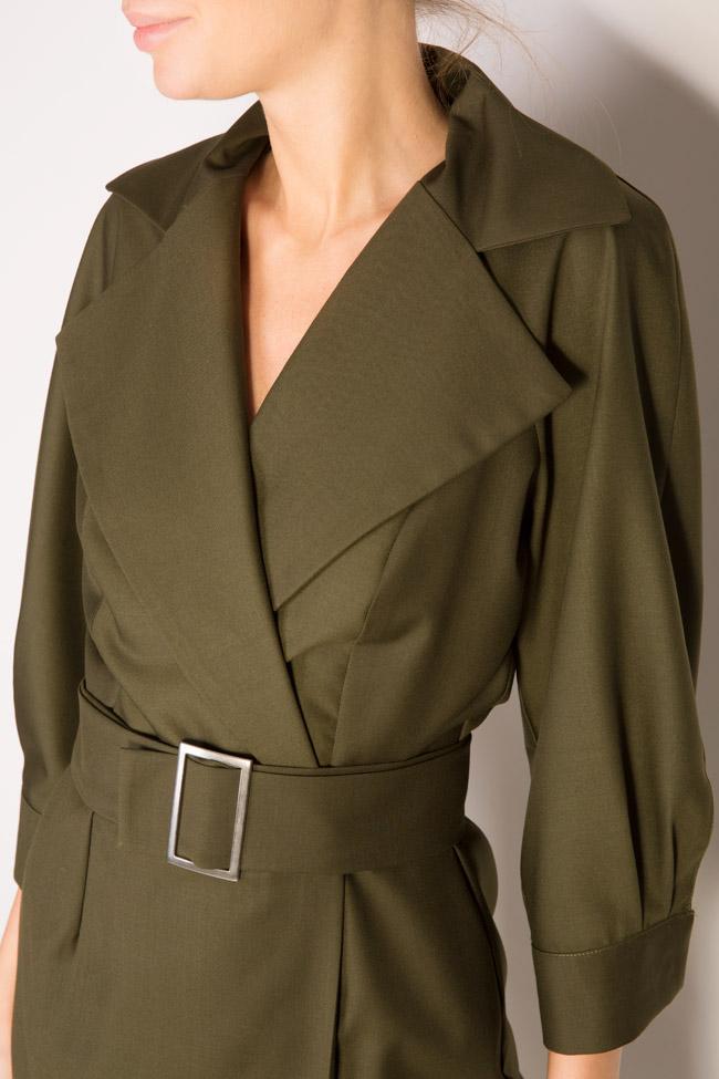 Belted wool-blend wrap dress Cloche image 3