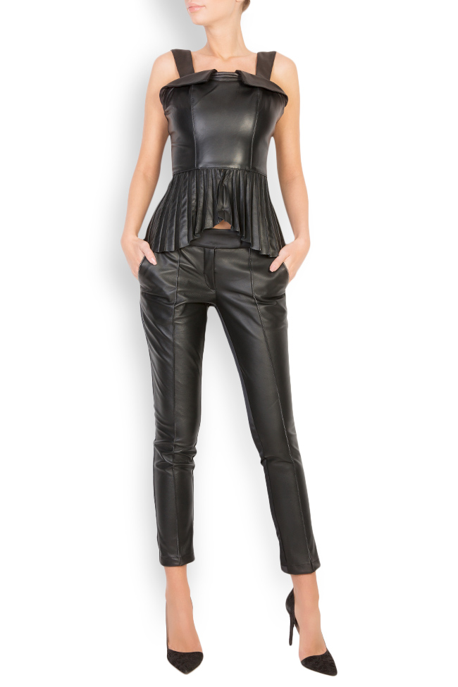 Asymmetric pleated leather top LUWA image 0
