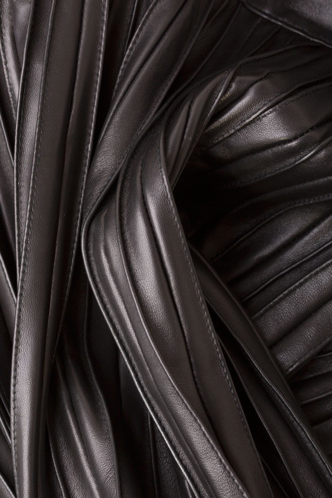 Asymmetric pleated leather top LUWA image 4