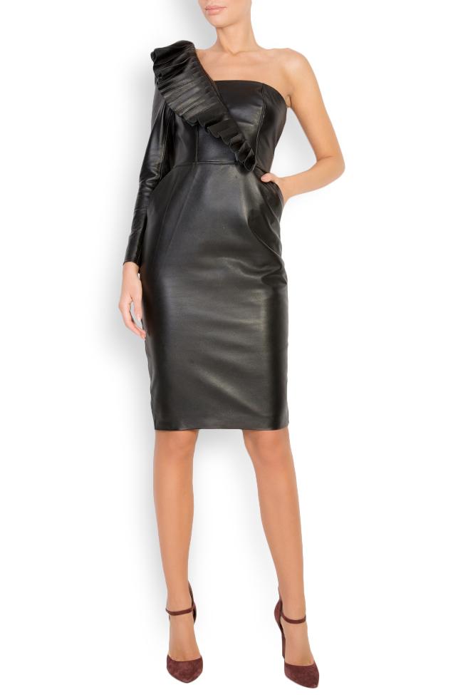 Asymmetric leather mini dress LUWA image 0