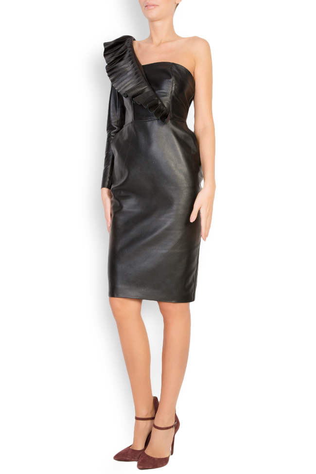 Asymmetric leather mini dress LUWA image 1