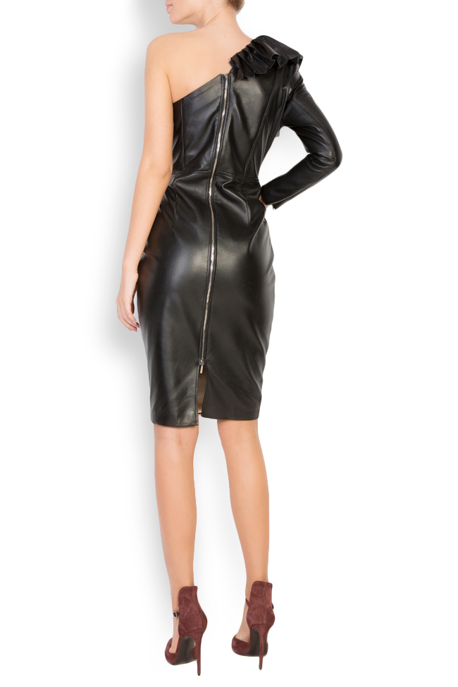 Asymmetric leather mini dress LUWA image 2