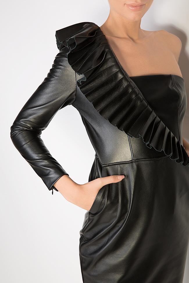 Asymmetric leather mini dress LUWA image 3