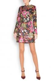 Cloche Floral-brocade mini dress