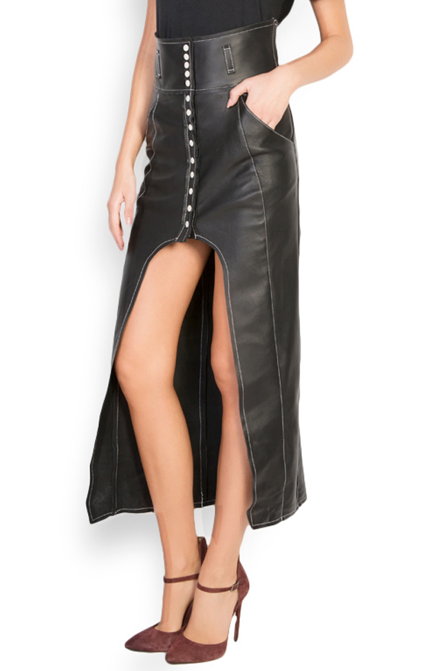 Asymmetric leather skirt LUWA image 1