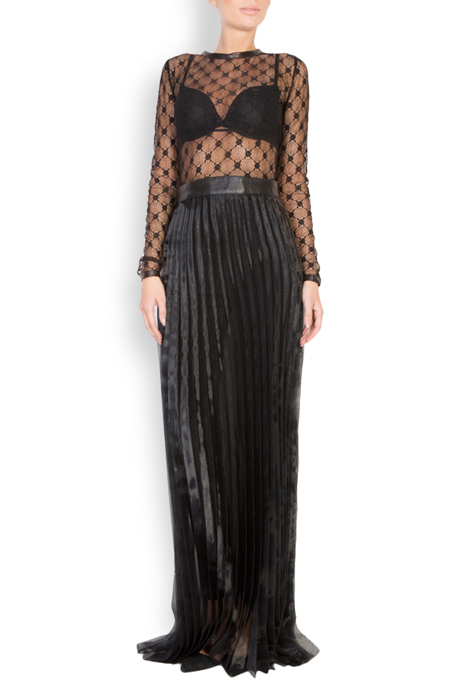 Lace-trimmed pleated leather maxi dress LUWA image 0
