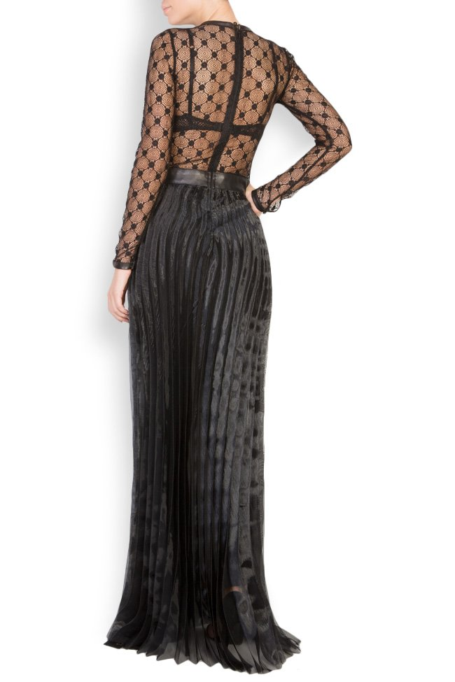 Lace-trimmed pleated leather maxi dress LUWA image 2